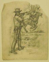 """Image of [Cowboy firing rifle at Native American on horseback] - Petersen, K. Gunnor """"Pete"""", 1907-1982"""