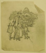"""Image of [Father with children] - Petersen, K. Gunnor """"Pete"""", 1907-1982"""