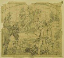 "Image of [Bandits on horseback holding up cowboy at campfire] - Petersen, K. Gunnor ""Pete"", 1907-1982"