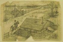 "Image of [Cowboy on horseback at ranch] - Petersen, K. Gunnor ""Pete"", 1907-1982"