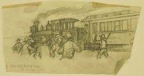 "Image of [Bandits holding up a train] - Petersen, K. Gunnor ""Pete"", 1907-1982"