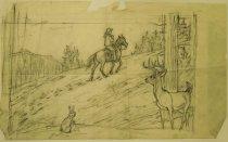 """Image of [Deer observing cowboy on horseback] - Petersen, K. Gunnor """"Pete"""", 1907-1982"""
