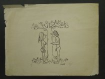 Image of [Adam points at Eve under a tree] - Modell, Frank B., 1917-2016