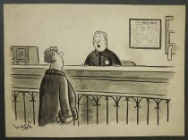 Image of [Bored officer addresses angry woman in police precinct] - Hoff, Syd, 1912-2004