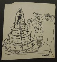 Image of [Bride and groom figurines hold onto each other on top of splitting wedding cake] - Modell, Frank B., 1917-2016