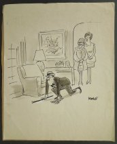 Image of [Angry man with cane crawls in front of two women] - Modell, Frank B., 1917-2016