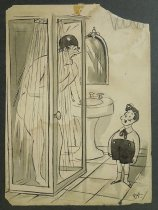 Image of [Little boy watching woman in the shower] - Arno, Peter, 1904-1968