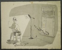 Image of [Man tanning under lamp looks at vine creeping through window] - Smith, Claude, fl.1950