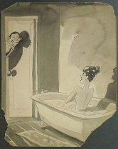 Image of [Young man leers at a shocked woman in a bathtub] - Arno, Peter, 1904-1968