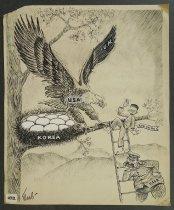 Image of [U.S.A. Eagle shielding Korea eggs] - Mael, Myer