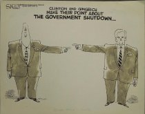 Image of Clinton and Gingrich make their point about the government shutdown... - Kelley, Steve, 1958?-