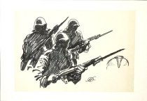 Image of [Three soldiers with rifles] - Freas, Frank Kelly, 1922-2005
