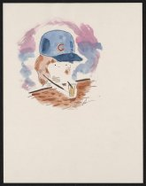 Image of [Woman at bar with beer glass and Chicago Cubs baseball hat] - Stein, Leslie, 1982-