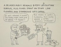 Image of A delayed audit reveals $153M PA legislature surplus, plus stuff spent on stuff like flowers and strabucks gift cards. - McMillan, Stephanie, 1965-