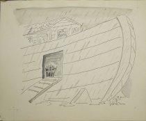 Image of Noah's Ark - umbrella in umbrella stand, by gangway - Levin, Arnie, 1938-