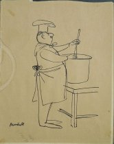 Image of [Chef contentedly stirs pot] - Modell, Frank B., 1917-2016