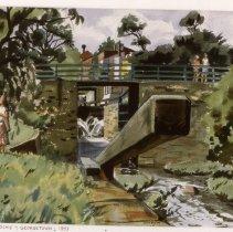 Image of KC0361.PT.BR.E.F. - Lock And Bridge On C & O Canal in Georgetown