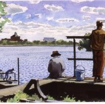 Image of KC0373.PT.WV.E.F. - Fishing in the Potomac At Georgetown