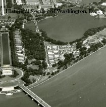 Image of AE 0269A - Aerial view east from the Potomac River over the Lincoln Memorial, WW II Temporary Buildings.