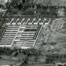 Image of AE 0070C - Aerial view to the north of WW II Temporary Buildings 3, 4, and 5.