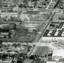 Image of AE 0076A - Aerial view north over WW II Temporary Buildings X and Y on 19th Street NE