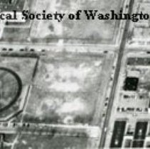 Image of AE 0103A - Aerial view north over WW II Temporary Buildings X and Y on 19th Street NE.