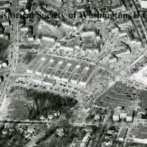 Image of AE 0152A - Aerial view north over WW II Temporary Building 8.