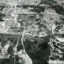 Image of AE 0025 - Aerial view north over Sleepy Hollow Road in Fairfax, Virginia. Lake Barcroft.