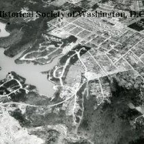 Image of AE 0028 - Aerial view north from Columbia Pike over Lake Barcroft, Culmore Neighborhood.
