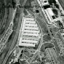 Image of AE 0037A - Aerial view north over  WW II Temporary Building 7, west of National Airport.