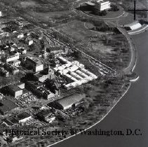 Image of AE 0001B - Aerial view southeast over the west end of Foggy Bottom from the Potomac River.