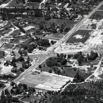 Image of AE 0586 - Aerial view southwest across Columbia Pike, Leesburg Pike in Bailey's Crossroads area.