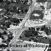 Image of AE 0587 - Aerial view southwest across Columbia Pike, Leesburg Pike in Bailey's Crossroads area.