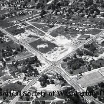 Image of AE 0588 - Aerial view northwest across Columbia Pike, Leesburg Pike in Bailey's Crossroads area.