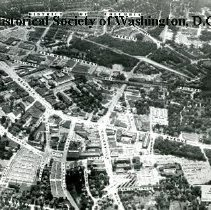 Image of AE 0688 - Aerial view southwest along Colesville Road over Georgia Avenue in Silver Spring, Maryland.