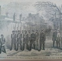 Image of 1950.001.07 - A Civil War picture of the United States Marines marching up Eight street southeast