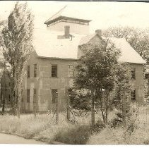 Image of Fort Preble 1952- 28 large two story building with pointed roof