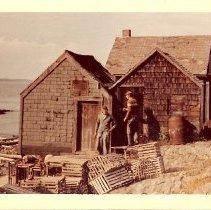 Image of Arthur and George Bolton, fishermen's shacks, Willard Beach