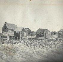 Image of Sketch of the fishing shacks at Willard Beach