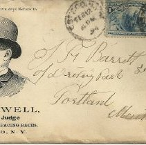 Image of Race track envelope with L.A. Sewell's image addressed to J.F. Barrett