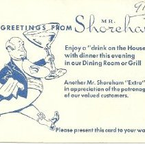 "Image of Howard Johnson's ""drink on the house"" card"