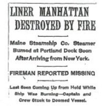 Image of News clipping about the steamer Manhattan