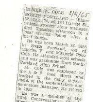 Image of Elmer W. Cole obituary