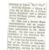 Image of Hiram S. Cole obituary