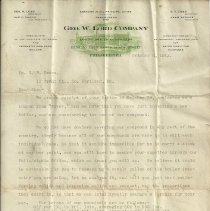 Image of Geo. W. Lord Company letter to G.F. Brawn