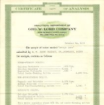 Image of Certificate of Analysis Sebago Lake water