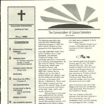 Image of Calvary Cemetery newsletter, front page