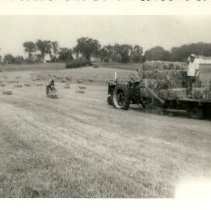 Image of Ernest & Robert Dyke haying 1954