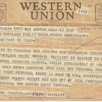 Image of Greater Portland Public Development Commission telegram