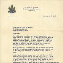 Image of 1952 letter to Murphy from Gov. Payne
